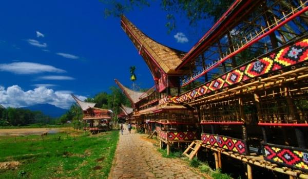 Lantang, pondok dari bambu untuk menampung para tamu selama pesta adat Toraja.