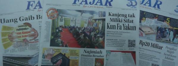 Menjadi berita utama di media lokal, harian FAJAR.