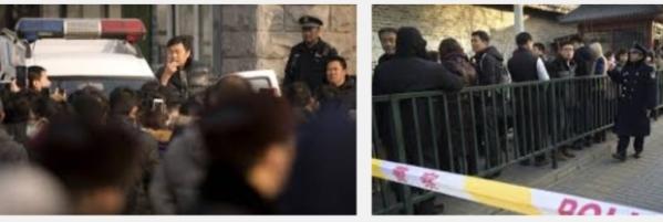 Kerumunan investor Ezubao di luar kantor pemerintah China.